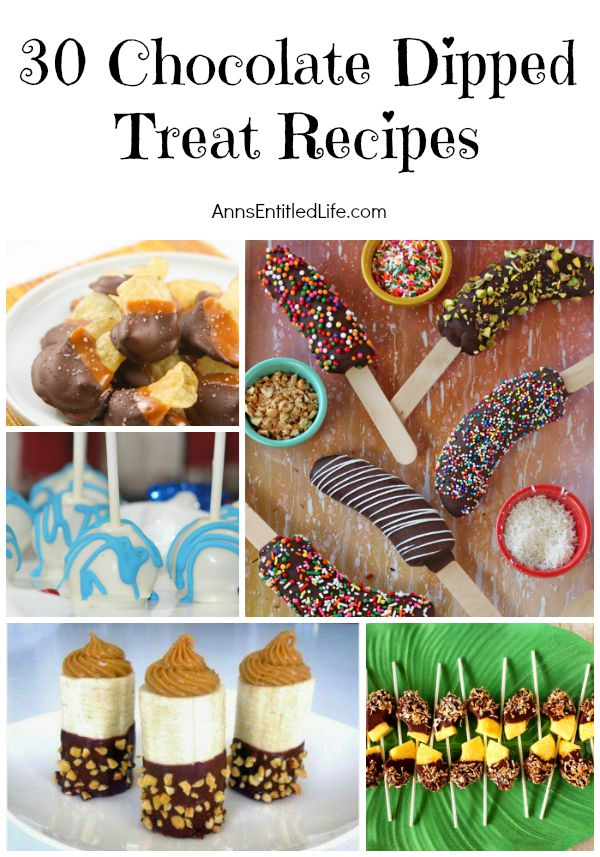 30 Chocolate Dipped Treat Recipes; Sweet, salty, fresh, juicy and a just a little bit decadent; from bacon to potato chips, from oranges to cakes, chocolate dipping is a fabulous way to combine a touch of chocolate with practically food.  Try one of these phenomenal 30 chocolate dipped treats and experience a new flavor sensation.