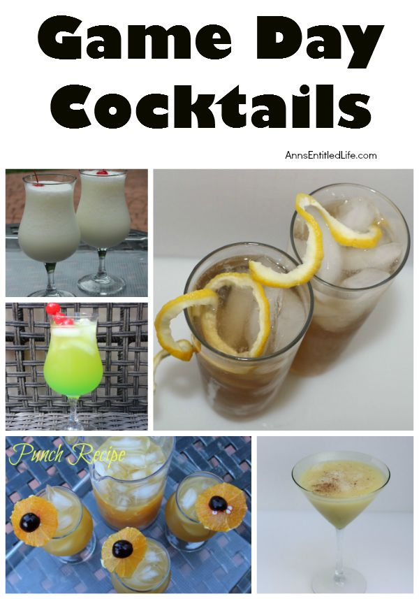 Game Day Cocktails - For Ladies; Looking for a great cocktail to kick off the big game with? Here's a great list of Game Day Cocktails - For Ladies - to enjoy during your favorite sporting event, a party, or anytime!
