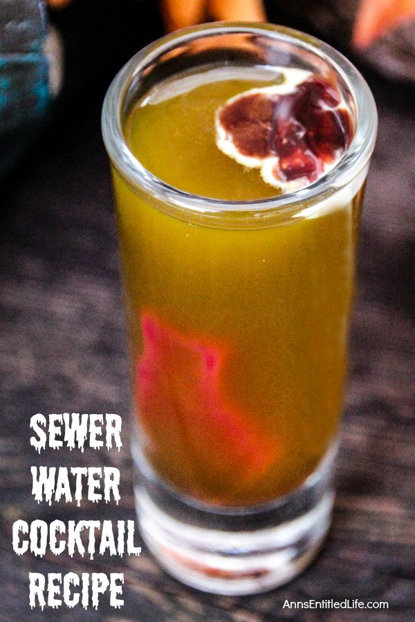 Sewer Water Cocktail Recipe; this murky mixture looks like sewer water, but tastes divine. At first glance your guests might be slightly hesitant to try this delightfully disgusting drink, but once they taste this Sewer Water Cocktail, they'll ask for it all night..