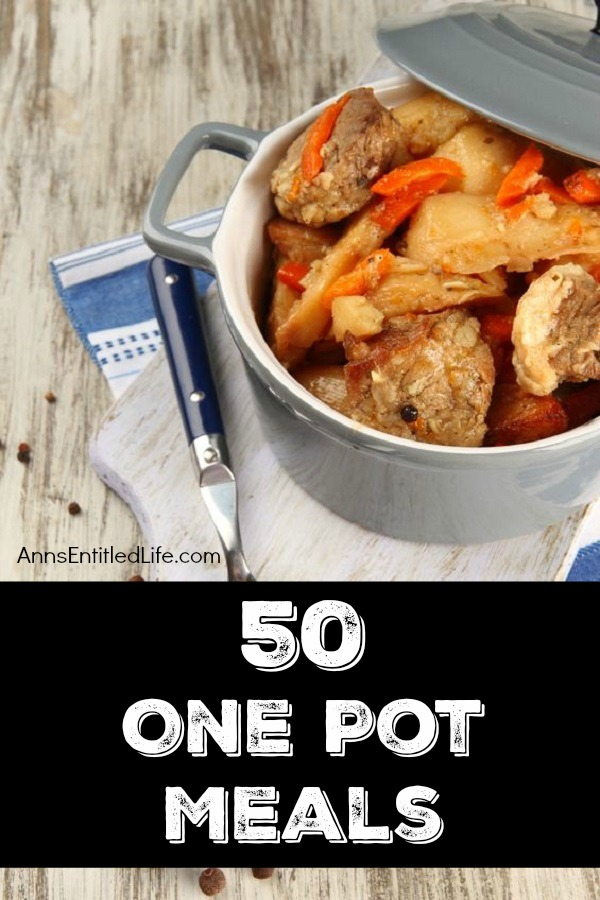 50 One Pot Meals Recipes; Check out these recipes for one-pot dinner ideas. One pot is all you need to make these hearty, delicious dinners - supper doesn't get any easier than one-pot meals!  Save time and have minimal clean-up by using only one pot to cook your dinner tonight!
