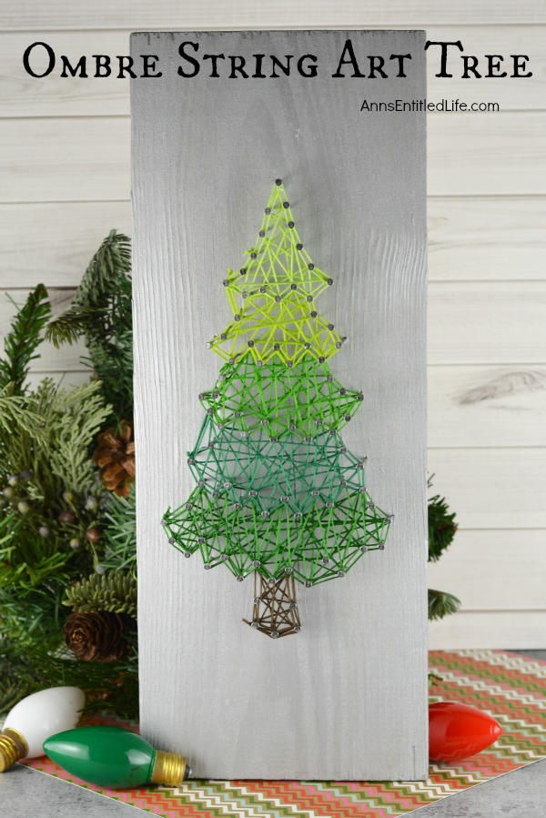 Ombre String Art Tree. Make your own whimsical Ombre String Art Tree with this step by step tutorial. Included are several printable tree patterns for you to choose from to make a Holiday Craft that you will be proud to display in your home, or give as a gift.