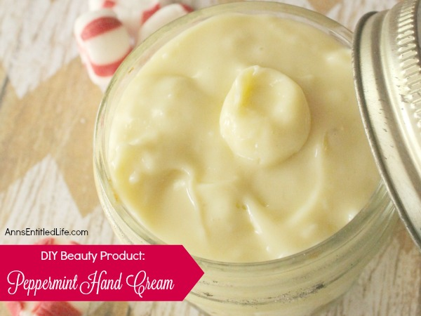 DIY Peppermint Hand Cream. A refreshing holiday scented hand cream that can be customized to any aroma. Soothing to chapped and dry hands, this peppermint hand cream make a great gift, or just keep it for your personal homemade body product use.