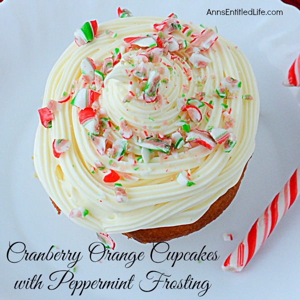 Cranberry Orange Cupcakes with Peppermint Frosting. Jazz up a plain boxed cake mix for a festive holiday treat! These easy to make cupcakes and simple peppermint frosting recipe will make people think you slaved all day in the kitchen, instead of just minutes.  These fun and delicious Cranberry Orange Cupcakes with Peppermint Frosting are a wonderful holiday dessert.