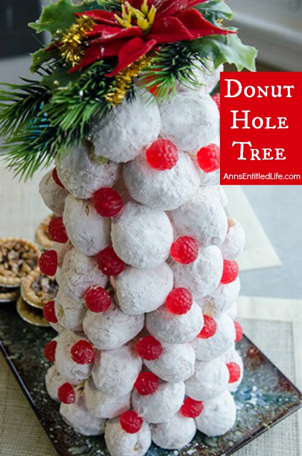 Donut Hole Tree. Make an adorable Donut Hole Tree for your next holiday party, Christmas breakfast, or other special occasion. This donut hole tree can be made all year, but is especially festive during the holiday season!