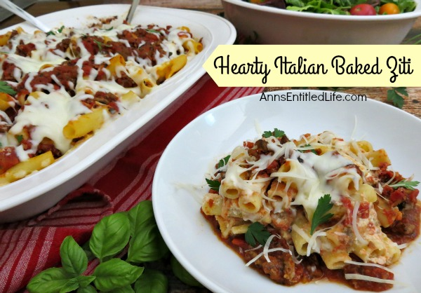 Hearty Italian Baked Ziti Recipe.This baked ziti is packed with meat, cheese and delicious spices. A filling dish, this Hearty Italian Baked Ziti will become a family favorite!
