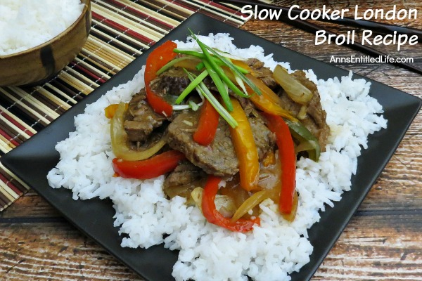 Slow Cooker London Broil Recipe. Take an inexpensive cut of London Broil to new heights with this delicious slow cooker recipe. Tender and tasty slices of beef, beautifully done vegetable in a savory broth served over rice makes for one satisfying family dinner. Try this Slow Cooker London Broil Recipe!