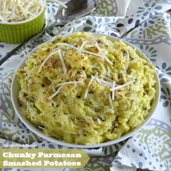 Chunky Parmesan Smashed Potatoes Recipe. The fabulous combination of cheese and potatoes is blended to perfection in this delicious Chunky Parmesan Smashed Potatoes Recipe. Easy to make, this smashed potato recipe can easily be doubled to serve more people. Try some for dinner tonight!