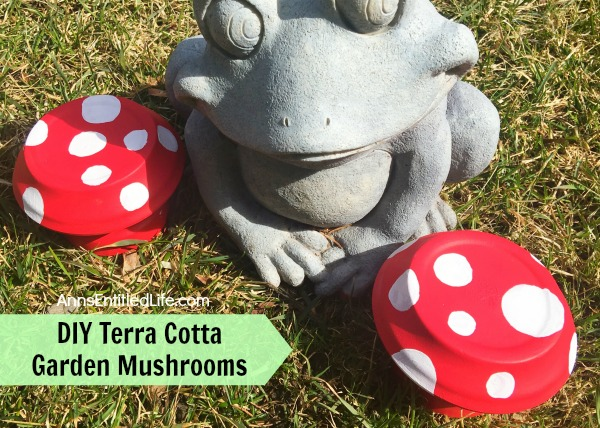 DIY Terra Cotta Garden Mushrooms. Make your own cute garden decor simply and inexpensively! Here's an easy step by step tutorial on how to make these DIY Terra Cotta Garden Mushrooms to brighten up and add a touch of whimsy your gardens.