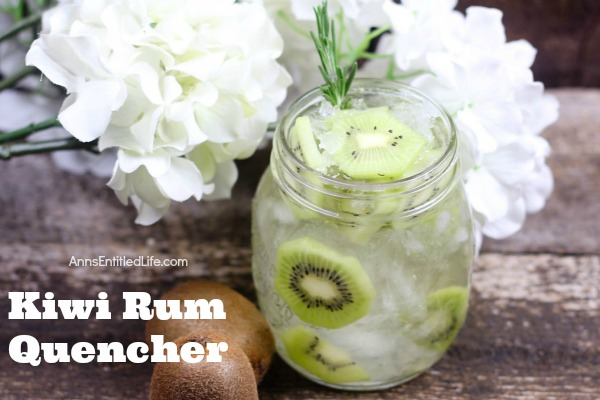 Kiwi Rum Quencher. This sweet, fun and delicious cocktail is a wonderful party quencher. Whether sipping drinks by the pool, having cocktails with friends, or trying something new at a celebration, this fabulous Kiwi Rum Quencher will have everyone asking for more.