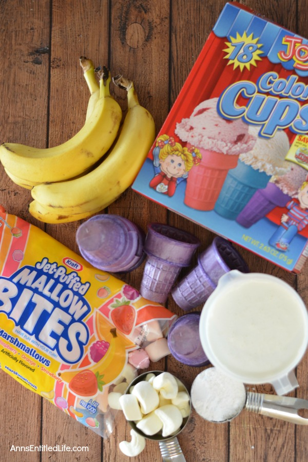 Banana Cream Cones Recipe. These no bake, fun snacks are light and require no utensils to eat! Simple to make, Banana Cream Cones are a wonderful party treat, dessert, or anytime snack.