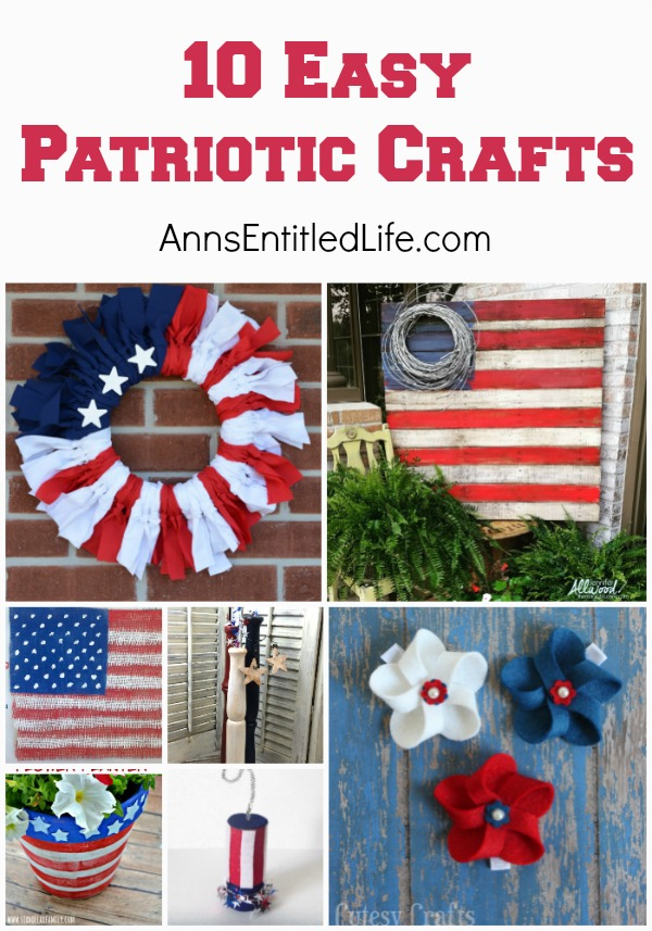10 Easy Patriotic Crafts. Looking for a simple Patriotic Craft idea for Memorial Day, Independence Day, Flag Day or just for general decor? Try one of these ideas! From planters to clothing, from wall decor to tabletop decorations, one of these 10 easy Patriotic Crafts will by just perfect to add a festive touch to your holiday or occasion.