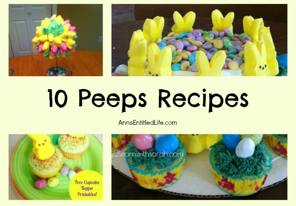 10 Peeps Recipes. Peeps! Peeps! Marshmallow Peep! One of my favorite candies.  Here are 10 Easter Peeps recipes to liven up dessert, and take full advantage of the sugary goodness that is marshmallow peeps!