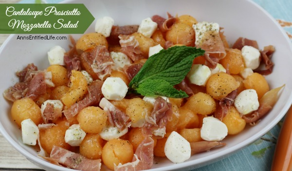 Cantaloupe Prosciutto Mozzarella Salad Recipe. Sweet, salty and delicious. This Cantaloupe Prosciutto Mozzarella Salad is a perfect lunch dish, side dish or dinner in a hurry. Just 15 minutes from refrigerator to table for this refreshing and tasty Cantaloupe Prosciutto Mozzarella Salad recipe!