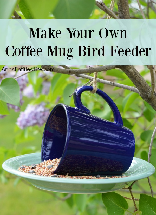 This is the easiest garden craft project you will ever do! Add a touch of whimsy to your garden decor with this simple coffee mug bird feeder craft. A fast and inexpensive craft project, learn to make your own coffee mug bird feeder with this simple step by step tutorial.