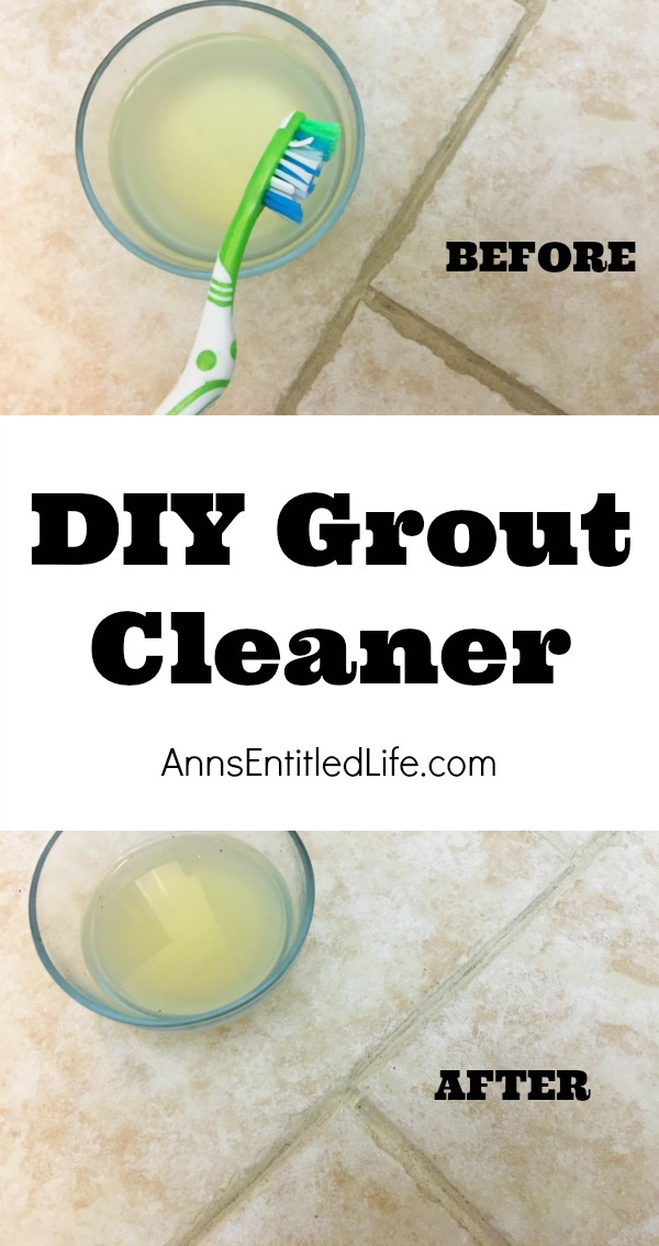 homemade grout cleaner in glass bowl next to a toothbrush on a grouted tile