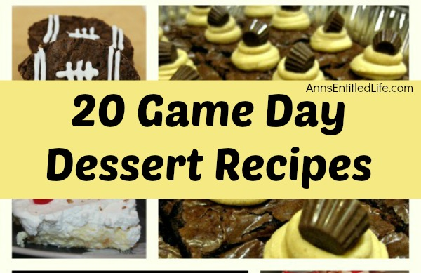 Game Day Recipes - Desserts; 20 delicious game day desserts and treat recipes sure to appeal to every football fan! Serve one of these very special desserts the next time you have friends and family over to watch the big game!