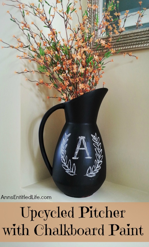 Upcycled Pitcher with Chalkboard Paint. Upcycle old ceramic pitchers, jars, vases and more with chalkboard paint for fun, and versatile decor! This easy step by step tutorial will show you how to make fabulous upcycled art with chalkboard paint very inexpensively.