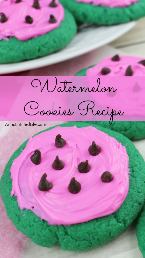 Watermelon Cookies Recipe By Ann These adorable Watermelon cookies are so simple to make! Use a cake mix to make these delicious cookies that taste look and taste like a watermelon. These are a fun time summer cookie that your children, family and friends will love.