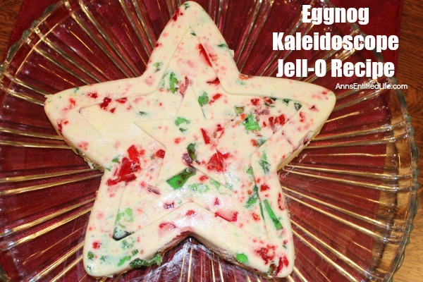 Eggnog Kaleidoscope Jello Recipe. An easy to make, festive Eggnog Kaleidoscope Jello Recipe is perfect for a holiday dinner dessert or side dish. This old-fashioned recipe dates back over 35 years! Your entire family will love it.