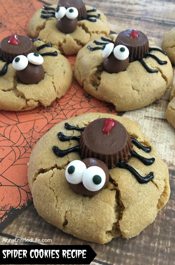 candy spider on top of a peanut butter cookie, 4 cookies total
