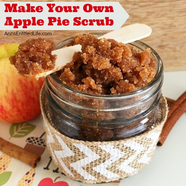 Apple Pie Scrub Recipe. Make your own apple pie scrub! This easy to make apple pie sugar scrub is a wonderful addition to your beauty regime. The warm, comforting scent of apple pie is simply delightful; your skin will feel and smell amazing!