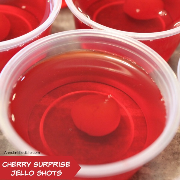 Cherry Surprise Jello Shots Recipe. This delightful cherry almond jello shot offers a nice little surprise in the middle. Simple to make, these Cherry Surprise Jello Shots are great for parties, tailgating, and more!