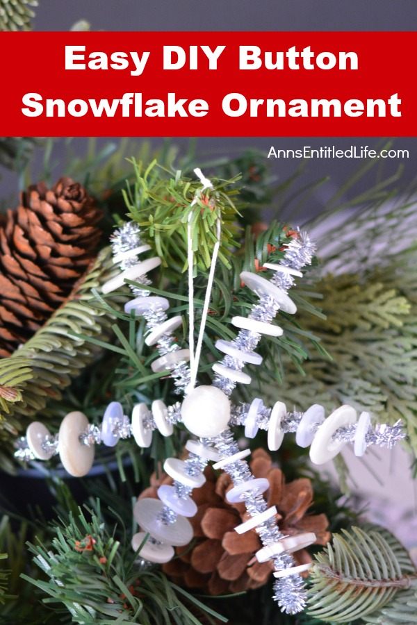 Easy DIY Button Snowflake Ornament. This Easy DIY Button Snowflake Ornament craft is one nearly anyone can make. This is a simple Christmas tree ornament that can be made in under 15 minutes to add to your handmade ornament collection.