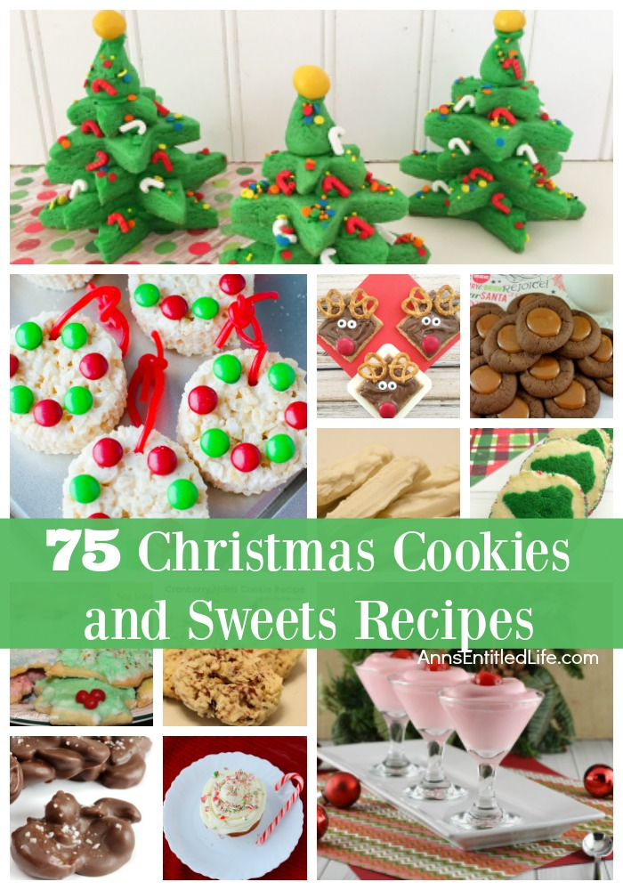 75 Christmas Cookies and Sweets Recipes. Here is a great list of 75 cookies and sweets recipes perfect for a holiday party, Christmas dessert, or even a cookie exchange! There is a delicious dessert recipe just waiting to be served at your holiday function, so be sure to check out this long list of holiday treats.