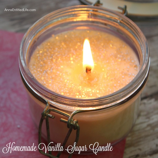 Homemade Vanilla Sugar Candle. This easy to make homemade vanilla sugar candle is really sweet! The sugar makes for a beautiful glistening look. This candle uses a vanilla scent but is can be customized using another scent you might like.  Candle making is easier than you think! Get started using this homemade vanilla sugar candle tutorial.
