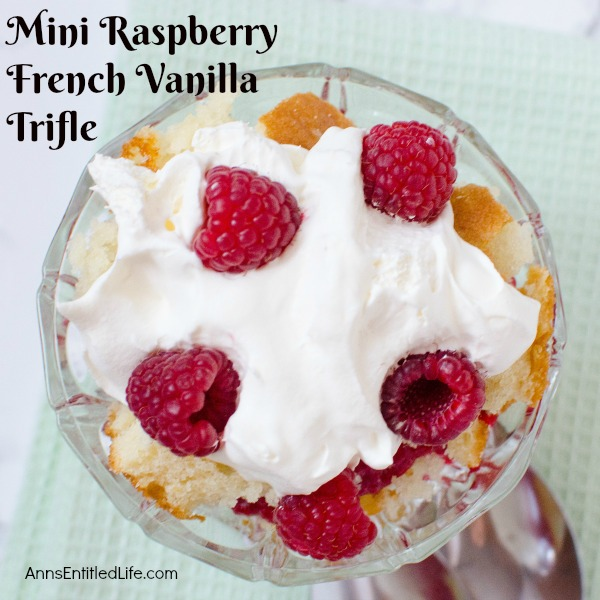 Mini Raspberry French Vanilla Trifle Recipe. Individual, easy to make trifles featuring French vanilla cake and raspberries. Lighter than traditional trifles, these single serve raspberry French vanilla trifle desserts are wonderful any time of year.