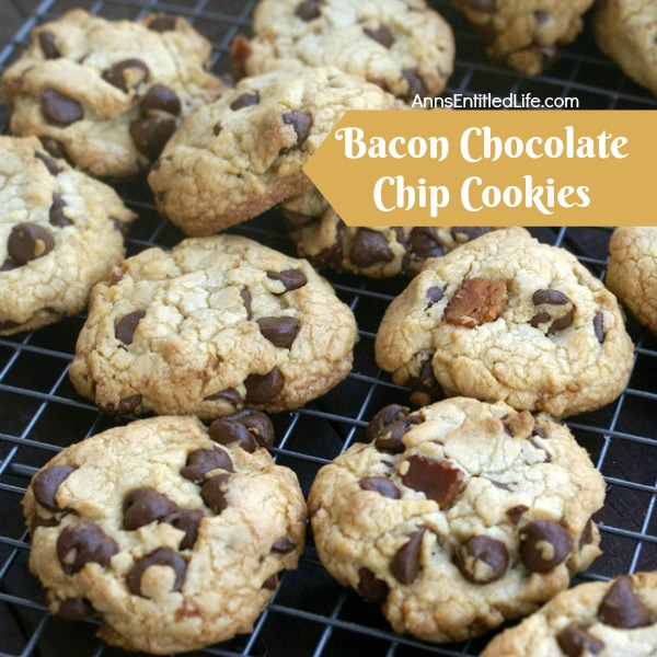 Bacon Chocolate Chip Cookie Recipe. These bacon chocolate chip cookies are fabulous! Easy to make, these bacon cookies would make terrific bacon gifts, snack cookies, dessert cookies or lunchbox treats. If you like bacon, you will love this bacon chocolate chip cookies recipe.