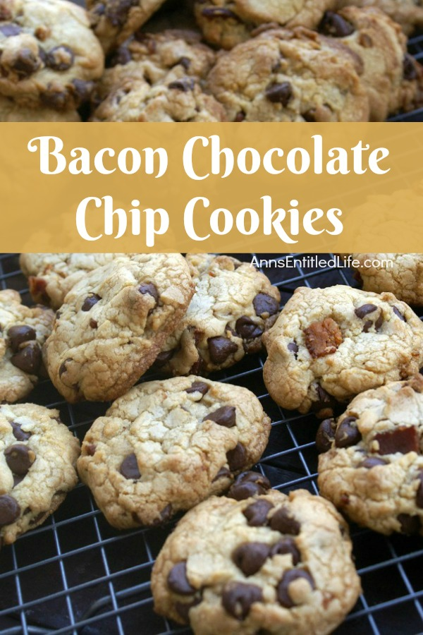 Bacon Chocolate Chip Cookies Recipe. These bacon chocolate chip cookies are fabulous! Easy to make, these bacon cookies would make terrific bacon gifts, snack cookies, dessert cookies or lunchbox treats. If you like bacon, you will love this bacon chocolate chip cookies recipe.