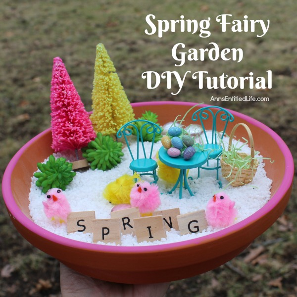 Spring Fairy Garden DIY Tutorial. This spring fairy garden is easy to put together. Great for tabletop decor, or for older children to play with under adult supervision, you and your children will have a lot of fun gathering your spring fairy garden supplies, and making your own personal miniature spring fairy garden this year!