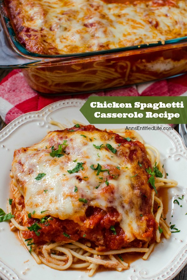 This Chicken Spaghetti Casserole recipe is a wonderful supper dish your entire family will love. Whether you call it a pasta bake recipe, a chicken pasta bake or a chicken spaghetti casserole, just know this easy dinner recipe is destined to be a family favorite. Yum!