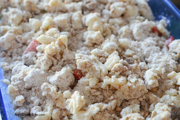 Strawberry Rhubarb Crisp Recipe. This updated, old time strawberry rhubarb crisp is simply delicious. The great sweet-tart taste of strawberries and rhubarb combined with a buttery good granola crumble topping makes for a dessert your entire family will enjoy!