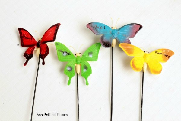 Easy DIY Butterfly Garden Markers. Simple to make garden markers to help you identify the fruits, vegetables, flowers, and herbs growing in your backyard or window garden. These are so easy to make, anyone can do it!