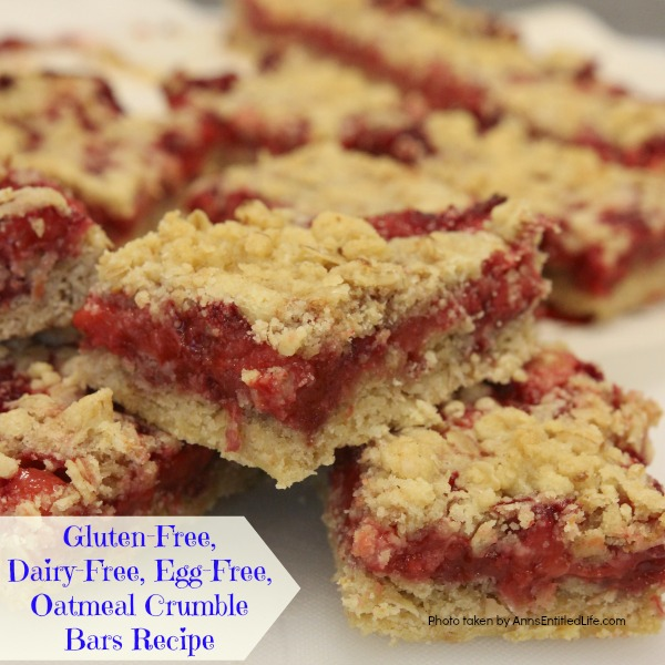 Gluten-Free, Dairy-Free, Egg-Free, Oatmeal Crumble Bars Recipe. Bursting with fresh fruit goodness, these Gluten-Free, Dairy-Free, Egg-Free, Oatmeal Crumble Bars taste fabulous. If you are looking for an easy to make gluten-free, dairy-free, egg-free dessert that is also delicious, this is the recipe for you!