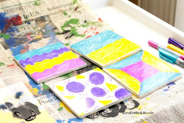 Tie Dye Coasters Tutorial. How to make your own tie dye coasters step by step tutorial. A fun, easy coaster craft perfect for home decor or as a housewarming gift!