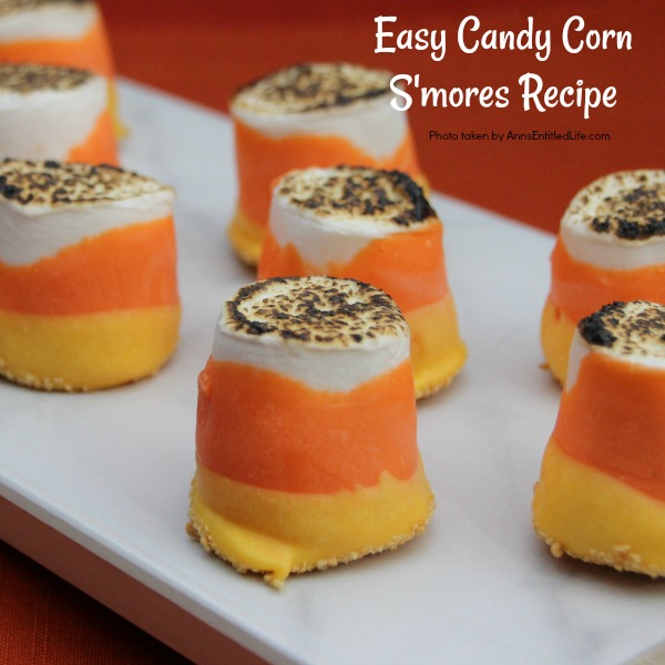 Easy Candy Corn S'mores Recipe. These are one of the easiest treats you can make. You do not need a campfire to get the great taste of S'mores. Make these delicious candy corn S'mores in your kitchen in about 10 minutes. Great for parties and snacks, these cute little candy corn s'mores are a simple sweet treat adults and children will love!