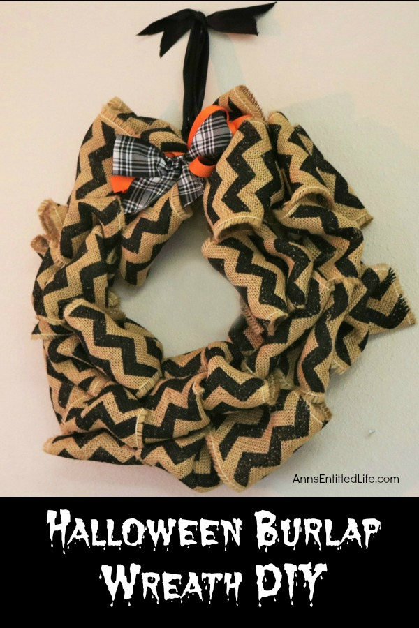 Halloween Burlap Wreath DIY. An easy to make Halloween wreath craft, perfect to display over your fireplace, or on your front door.