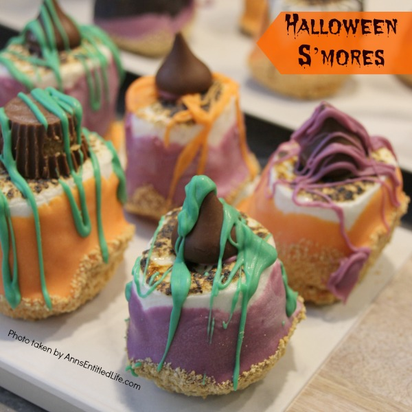 Easy Halloween S'mores Recipe. You do not need a campfire to get the great taste of S'mores. Make these delicious Halloween S'mores in your kitchen in about 10 minutes. Great for parties and snacks, these cute little Halloween s'mores are a simple sweet treat adults and children will love!
