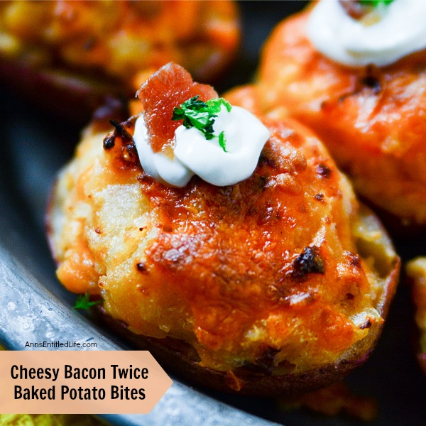 Cheesy Bacon Twice Baked Potato Bites Recipe. A delicious homemade appetizer your friends and family are sure to love! These Cheesy Bacon Twice Baked Potato Bites can also be adapted to a side dish, perfect for a holiday or family dinner.