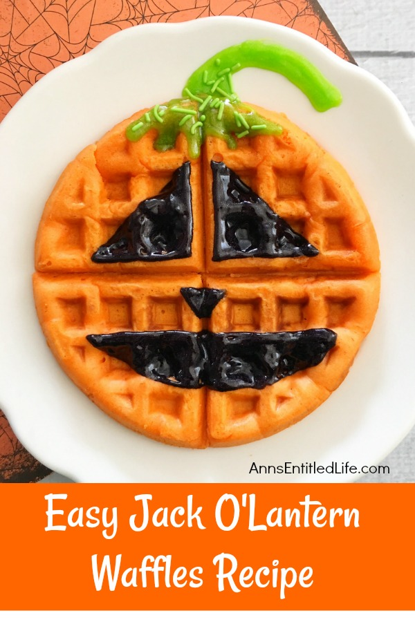 Jack-O'-Lantern Waffles Recipe. A fun fall breakfast, this Jack-O'-Lantern Waffles Recipe is easy to make and delicious! Your kids (and you) will start the day with a smile when you enjoy this sweet and charming morning repast.