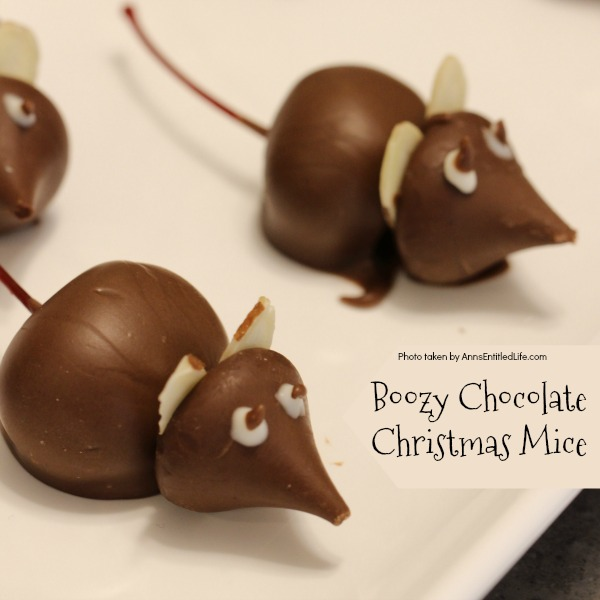 Boozy Chocolate Christmas Mice. These Manhattan-inspired (that is the cocktail, not the place) boozy chocolate Christmas mice are fun and tasty. Place a few to nibble along your Christmas cookie platters!