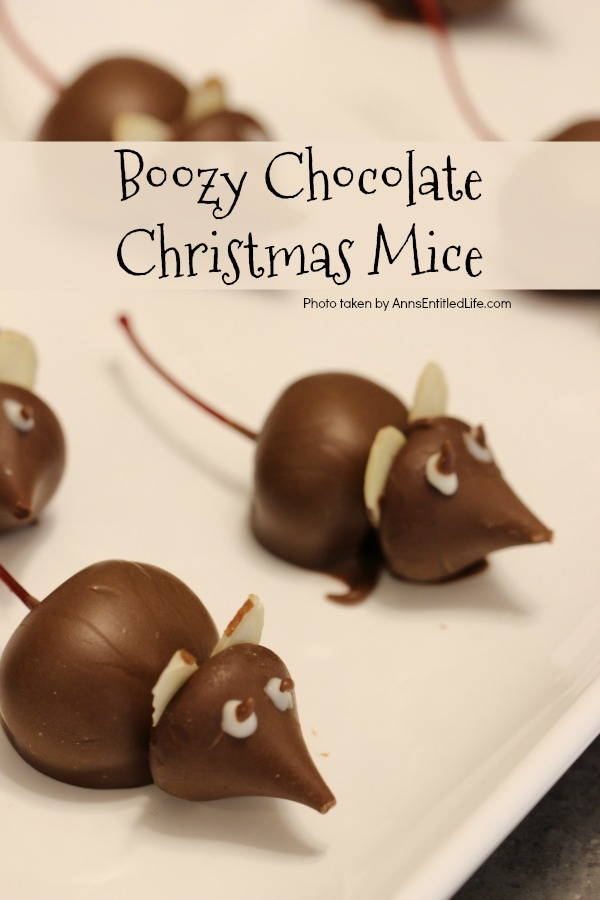 Boozy Chocolate Christmas Mice Recipe. These Manhattan-inspired (that is the cocktail, not the place) boozy chocolate Christmas mice are fun and tasty. Place a few to nibble along your Christmas cookie platters!
