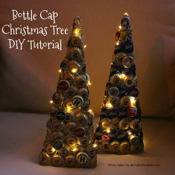 Bottle Cap Christmas Tree DIY Tutorial. Follow the step by step instructions in this Bottle Cap Christmas Tree DIY Tutorial to make a lighted bottle cap Christmas tree. Use your pop caps or beer caps to make this unique, and beautiful, holiday craft!