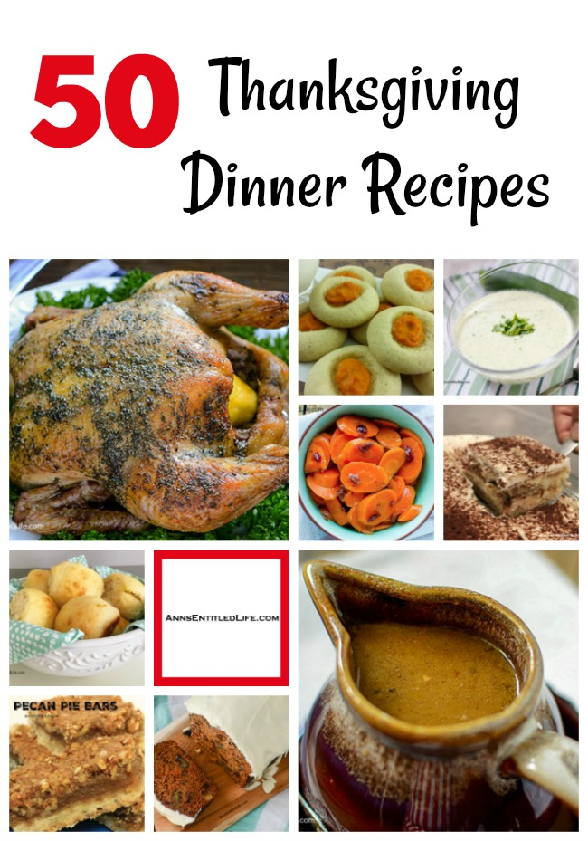 50 Thanksgiving Dinner Recipes. A long list of Thanksgiving Day Dinner Menu Recipes to share with friends and family. Everything from appetizers to entrees to dessert to make your Thanksgiving meal complete. Whether you are hosting Thanksgiving dinner (or lunch) in your home, or making one special recipe to take to your friend's or relative's house, this list of Thanksgiving Dinner Recipes can help you plan your meal.