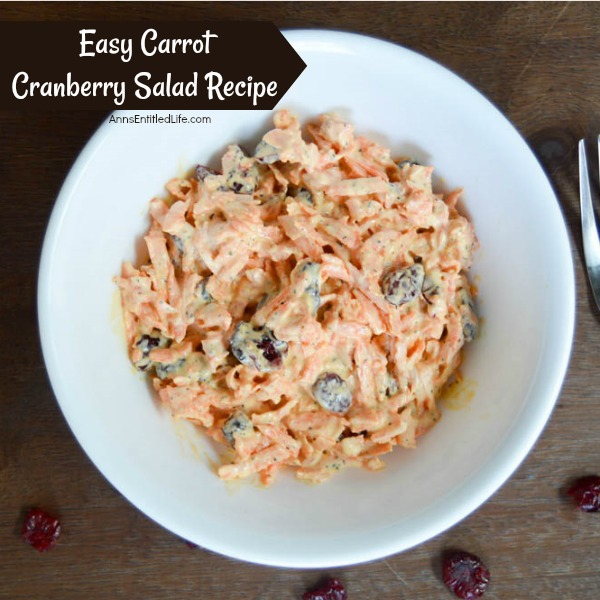 Easy Carrot Cranberry Salad Recipe. This is one of the easiest holiday salads you can make! When you are looking for a simple to make side dish to serve, give this wonderful Easy Carrot Cranberry Salad Recipe a try!