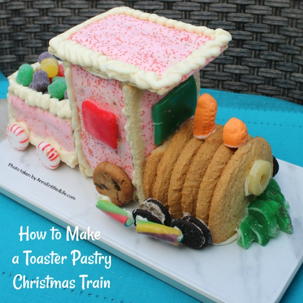 How to Make a Toaster Pastry Christmas Train. This eatable Christmas Train made with toaster pastries is a fun alternative to a gingerbread house. Use it as your table decor, and then eat it for dessert. Follow these step-by-step tutorial instructions to learn how to assemble this adorable Christmas train.