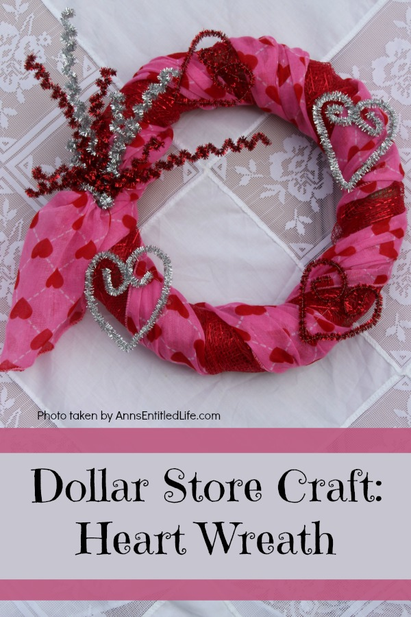Dollar Store Craft: Heart Wreath. This simple to make heart wreath is made using dollar store finds. It comes together in under 15 minutes, and it a wonderful, inexpensive heart décor. Perfect for Valentine's Day, Sweetest Day, or any occasion where heart décor is wanted.